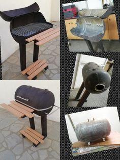 Homemade Grill, Diy Grill, Fire Pit Backyard, Backyard Bbq, Gas Bottle Bbq, Happy Cafe, Steel Fire Pit, Diy Welding, Grill Design