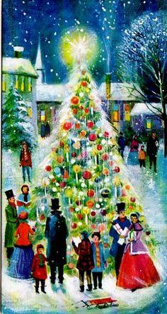 #Christmas #tree vintage greeting card