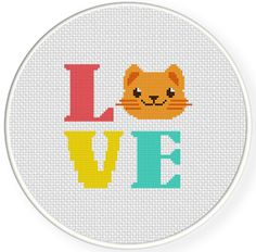 INSTANT DOWNLOAD LOVE kitty PDF Cross Stitch Pattern    -----------------------------------------------------    Pattern:    Fabric: 14 count