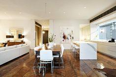 Wide herringbone floorboards