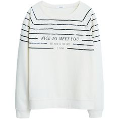 Mango Printed Message Sweatshirt, Natural White ($31) ❤ liked on Polyvore featuring tops, hoodies, sweatshirts, crew neck sweat shirt, white long sleeve top, sweat shirts, white crewneck sweatshirt and white sweatshirt