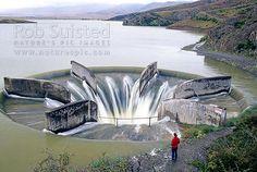Water intake to the hydro electric power dam at Falls Dam, Central Otago, Central Otago District, Otago Region, New Zealand (NZ).