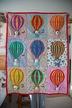 myBearpaw: Hot Air Balloon Cot Quilt with removable animals in the baskets
