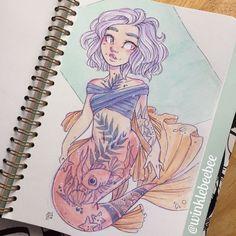 Character Design Idea~ By Winklebeebee Cartoon Drawings, Cool Drawings, Cartoon Art, Pretty Art, Cute Art, Character Drawing, Character Design, Mermaid Sketch, Mermaid Tattoos