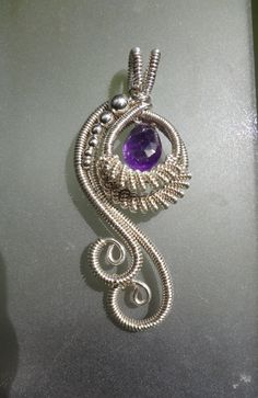 Amethyst Peacock Wire Wrapped Pendant. $68.00, via Etsy.