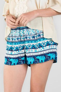 An assortment of festive prints make up the Nicoya Printed Shorts. Elephants, flowers & geometric shapes are printed onto these soft shorts with a smocked waistband.