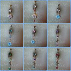 Flower belly rings by BellybyMollie on Etsy