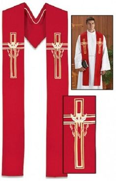 Descending Dove - Red Clergy Stole with a 3 Pack of Stole Storage Bags