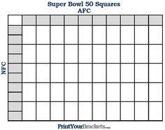 Super Bowl Pools Ideas super bowl squares Printable Super Bowl Squares 50 Grid Office Pool