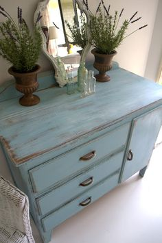 Paint Me White: Sweet Blue Vintage Drawers/Dresser