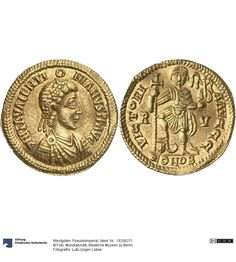 Westgoten: Pseudoimperial Münze 430-500 Land: Frankreich (Land) Münzstätte/Ausgabeort: Toulouse Nominal: Solidus, Material: Gold, Druckverfahren: geprägt Gewicht: 4,39 g Durchmesser: 21 mm