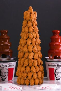 Level up your party game this holiday season with the ultimate showstopping centerpiece: an epic, edible tower of Kentucky Fried Wings! by KFC Throw your own wing party: Kfc, Snack Recipes, Cooking Recipes, Snacks, Kentucky Fried, Bourbon Kentucky, Kentucky Derby, Cocinas Kitchen, Good Food