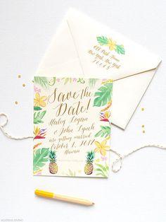Beach Wedding Save the Dates Tropical Wedding by MospensStudio