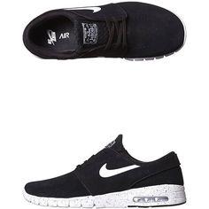Nike Stefan Janoski Max L Shoe (142220 IQD) ❤ liked on Polyvore featuring men's fashion, men's shoes, men's sneakers, shoes, sneakers, black, footwear, mens footwear, nike mens shoes and mens black shoes
