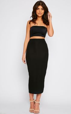 Missguided - Tall Longline Jersey Midi Skirt Black | Ca m'est egal ...