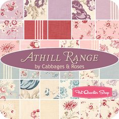 "Athill Range Charm Pack  Cabbages & Roses for Moda Fabrics  Athill Range Charm Pack includes 42 5"" squares."