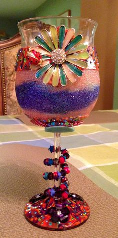 Funky glitter polymer clay glitter spring ladybug flower and critter wine glass with wrapped charm ring~ spring wine glass~ polymer clay