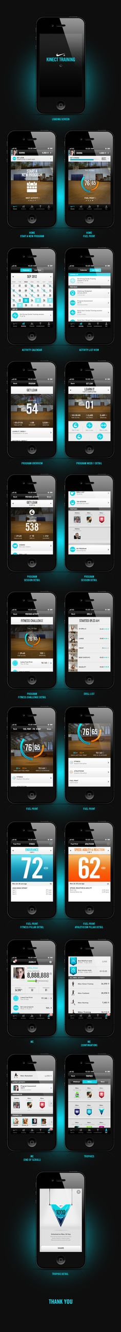 #Nike+ Kinect Training #iphone #app by João Planche, via #Behance #Mobile #ui