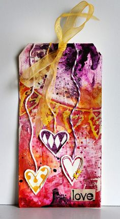 valentine tag. spray ink background. rondapalazzari.typepad.com