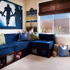 Great idea for a lounge area under windows in right/back bedroom
