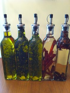 The first three oils are made with extra virgin olive oil and fresh herbs the second are made with spices. Thyme, oregano, rosemary, cinnamon and star anis. The last two oils are made with peanut oil. Flavored Oils   There are so many flavored oils that can be purchased at specialty stores but who wants to pay the big prices when you can make it yourself ?  An oil you may want to look at is extra-virgin olive oil which is terrific for natural flavoring. We can discuss adding oil to truffles…