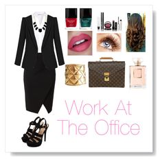 Work At The Office by one-direction-is-life-224 on Polyvore featuring H&M, Louis Vuitton, Chanel, House of Harlow 1960, Butter London and Bobbi Brown Cosmetics