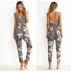 Wholesale price: US$ 11.14 CheapestNew Hot Sale Floral Print Jumpsuit Women Grey