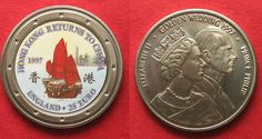 1997 England UK 25 Euro 1997 Ship HONG KONG RETURNS TO CHINA / GOLDEN WEDDING Cu-Ni # 94608 BU (MS65-70)