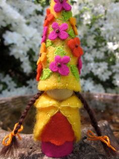 Sunshine flower fairy blossom felt gnome Waldorf inspired elf sprite nature table play doll. $29.00, via Etsy.