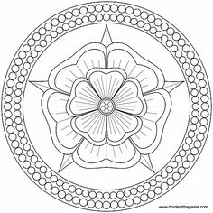 Rose and Pearls Mandala to color or embroider- JPG or transparent PNG format. my-mandalas Mandalas Painting, Mandalas Drawing, Mandala Coloring Pages, Coloring Book Pages, Dot Painting, Mandala Art, Zentangles, Mandala Rose, Tudor Rose
