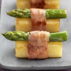 Pommes de terre en sushi d'asperge au lard