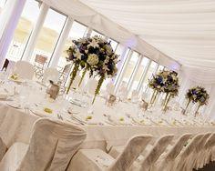 Elegant marquee set up . Golf Wedding, Wedding Shit, Irish Wedding, Wedding Table, Wedding Centrepieces, Flower Centerpieces, Wedding Bouquets, Wedding Flowers, Trump International