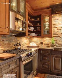 Small Cottage Kitchen.  Interiors Design Kitchen  Featured in www.ourhomesmagazine.com/muskoka