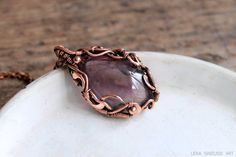 Copper pendant Wire wrap pendant wire wrap by LenaSinelnikArt