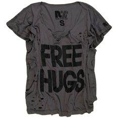 Rebel Yell Free Hugs Rocker Tee in Dark Steel ❤ liked on Polyvore