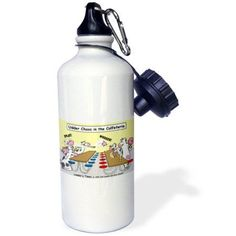 3dRose Udder Chaos - Cow Food Fight, Sports Water Bottle, 21oz