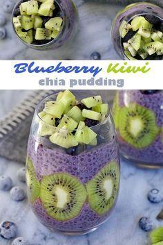 Blueberry Kiwi Chia Pudding - Peanut Butter and Fitness Blueberry Kiwi Chia Pudding - a delicious and healthy dessert, breakfast or snack! Chia Pudding, Healthy Sweets, Healthy Snacks, Raw Food Recipes, Snack Recipes, Kiwi Recipes, Juice Recipes, Chia Recipe, Breakfast Dessert