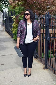 Blazer-Lord&Taylor/Top-H&M/Pants-Torrid/Monogrammed Clutch-Gigi New York/Necklace c/o ASOS Curve/Shoes-Kate Spade