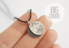 big UNDER THIS MOON / Necklace - Customized lunar phase charm of your special night in silver and silk, astronomy, black, red, crescent by gemagenta on Etsy https://www.etsy.com/listing/191013726/big-under-this-moon-necklace-customized