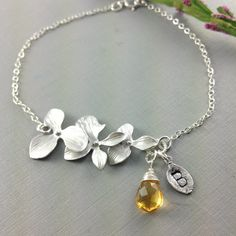November Birthstone Gift, Orchid Bracelet, November Birthday Gift, Christmas Gift, Birthstone Initial, Unique Bridesmaids Gift, Citrine. $38.00, via Etsy.