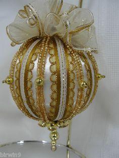 Christmas Tree Ornament Handmade w/Ribbons, Beads, Pretty Top Bow | eBay