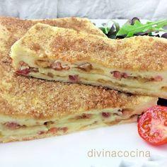 INGREDIENTES  12 rebanadas de pan de molde sin corteza o planchas de pan tipo Roller de Bimbo (en la foto) Media cebolla 1 manzana 150 gr de bacon ahumado en lonchas o taquitos 2 huevos 200 ml de nata líquida ligera de cocina o leche evaporada Azúcar moreno (o blanquilla) para caramelizar Sal y pimienta Mantequilla Queso rallado ELABORACIÓN http://www.divinacocina.es/pastel-de-pan-de-molde-caramelizado/