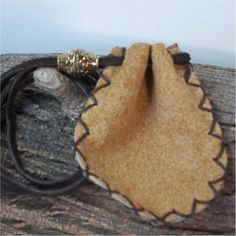 Bronze Leather Medicine Sage Pouch, Stone, Spirit Bag, Mojo 3X2.5 Dragon Alley