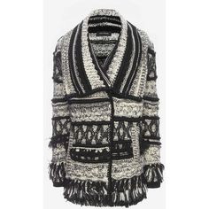 Yigal Azrouel Fringe Trim Throw Sweater ($750) ❤ liked on Polyvore featuring tops, sweaters, drape top, long sleeve tops, drapey tops, long sleeve sweaters and long sleeve fringe top