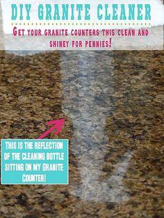 DIY Granite Cleaner, 1/4c rubbing alcohol, 3 drops dish soap, 2 cups of water, 5-6 drops of eccential oil. Use doTERRA essential oil lemon( must be acid free)