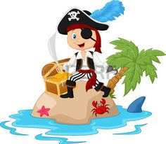 Vector illustration of Cartoon Pirate in the treasure island Pirate Theme, Pirate Party, Art Activities For Kids, Art For Kids, Images Pirates, Pirate Quilt, Pirate Clip Art, Pirate Cartoon, Pirate Island