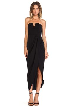 Shona Joy Bauhaus Draped Bustier Dress in Black