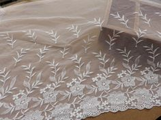 Wide Tulle Lace Fabric Off White Embroidered Floral by lacelindsay