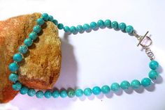 "Beautiful 19"" Large 10mm round Genuine Turquoise & Sterling Silver Bead Necklace!"