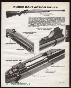 1991 RUGER Magnum Rifle AD w/ close-up images of bolt action